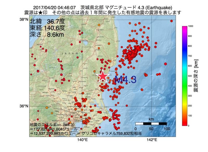 地震震源マップ:2017年04月20日 04時46分 茨城県北部 M4.3