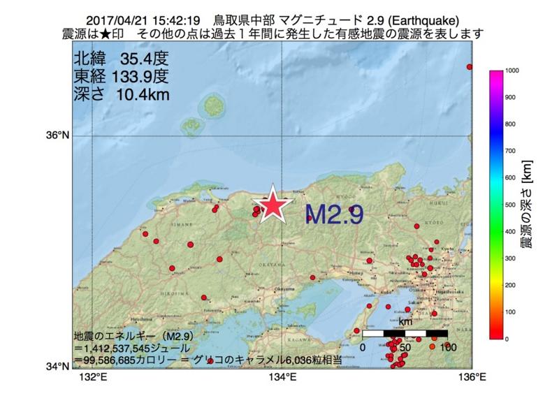 地震震源マップ:2017年04月21日 15時42分 鳥取県中部 M2.9