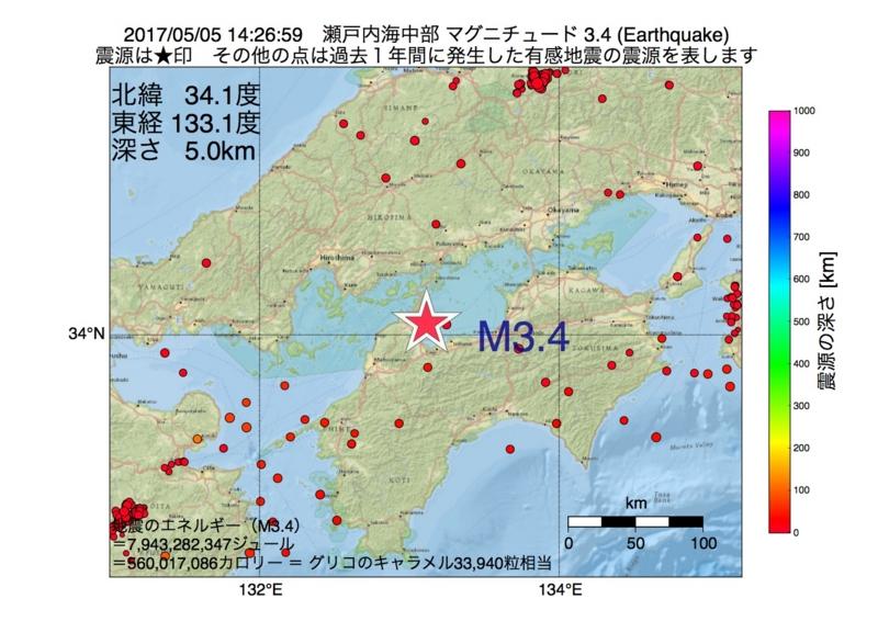 地震震源マップ:2017年05月05日 14時26分 瀬戸内海中部 M3.4