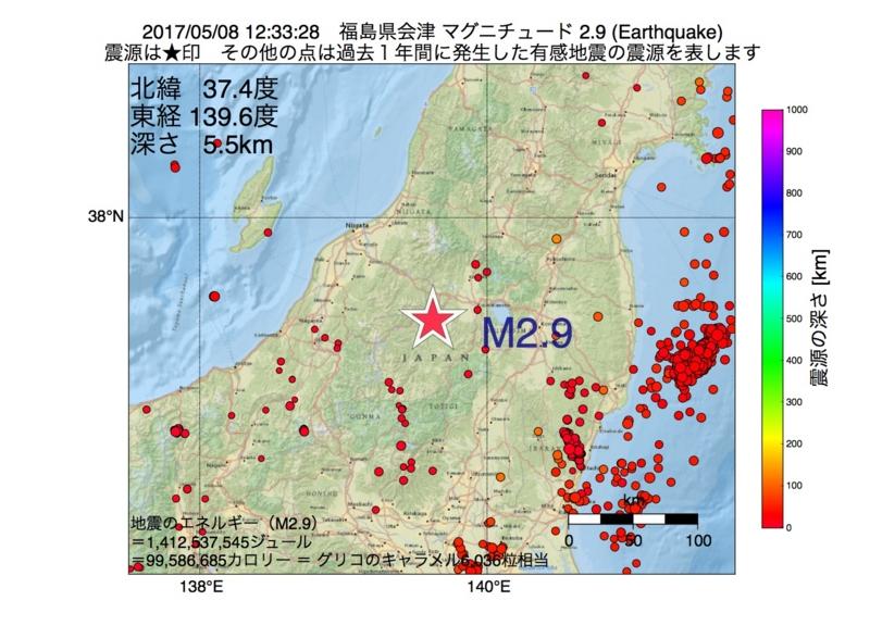 地震震源マップ:2017年05月08日 12時33分 福島県会津 M2.9
