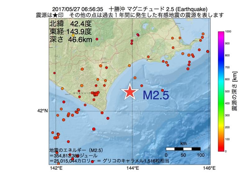 地震震源マップ:2017年05月27日 06時56分 十勝沖 M2.5