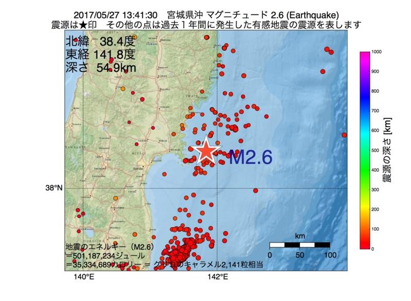 地震震源マップ:2017年05月27日 13時41分 宮城県沖 M2.6