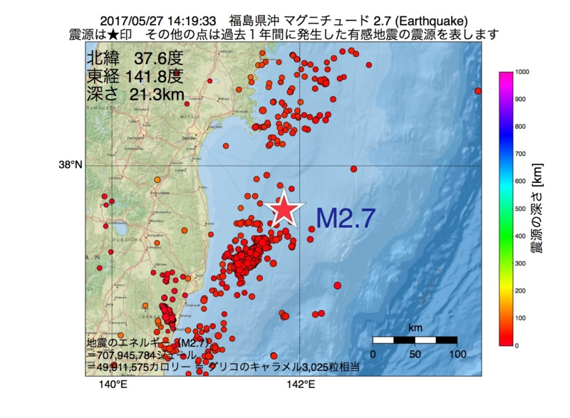 地震震源マップ:2017年05月27日 14時19分 福島県沖 M2.7