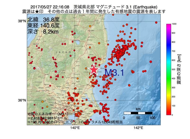 地震震源マップ:2017年05月27日 22時16分 茨城県北部 M3.1