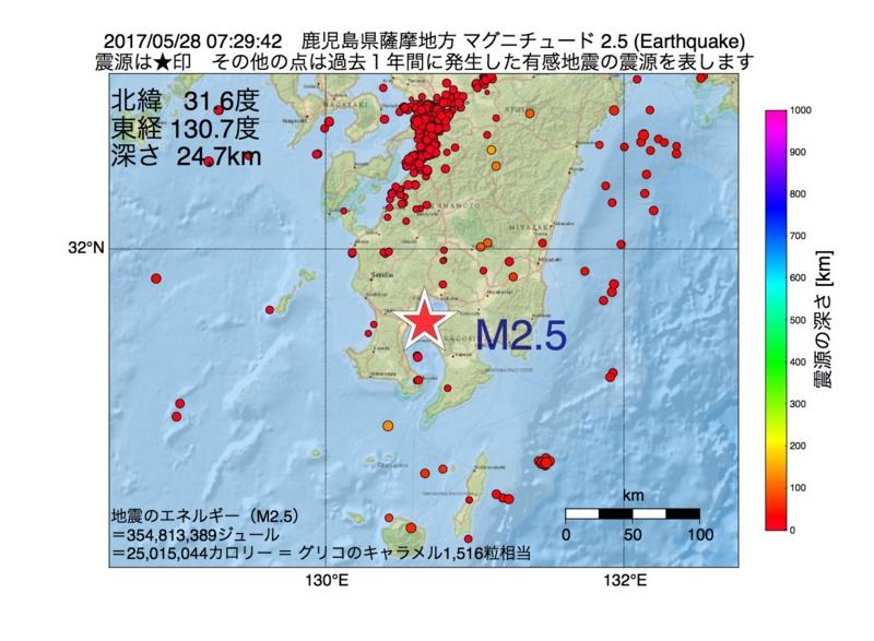 地震震源マップ:2017年05月28日 07時29分 鹿児島県薩摩地方 M2.5
