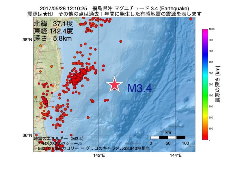 地震震源マップ:2017年05月28日 12時10分 福島県沖 M3.4