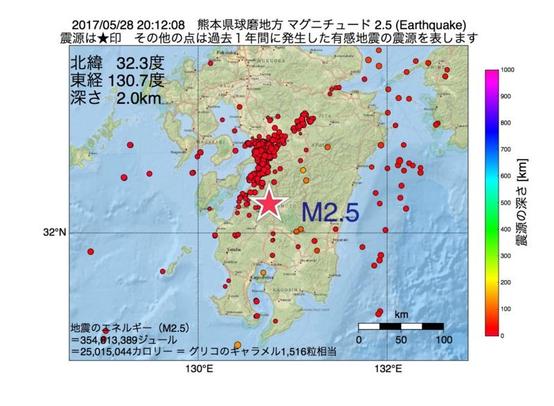 地震震源マップ:2017年05月28日 20時12分 熊本県球磨地方 M2.5
