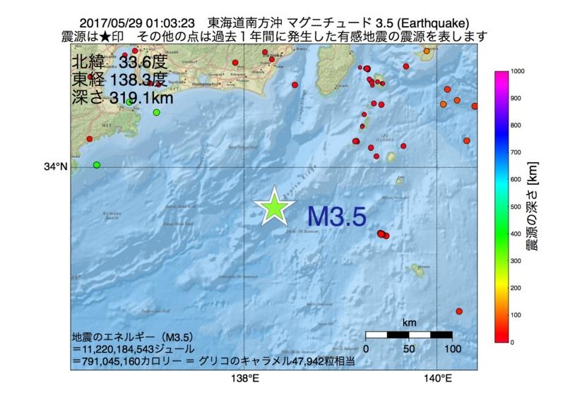 地震震源マップ:2017年05月29日 01時03分 東海道南方沖 M3.5