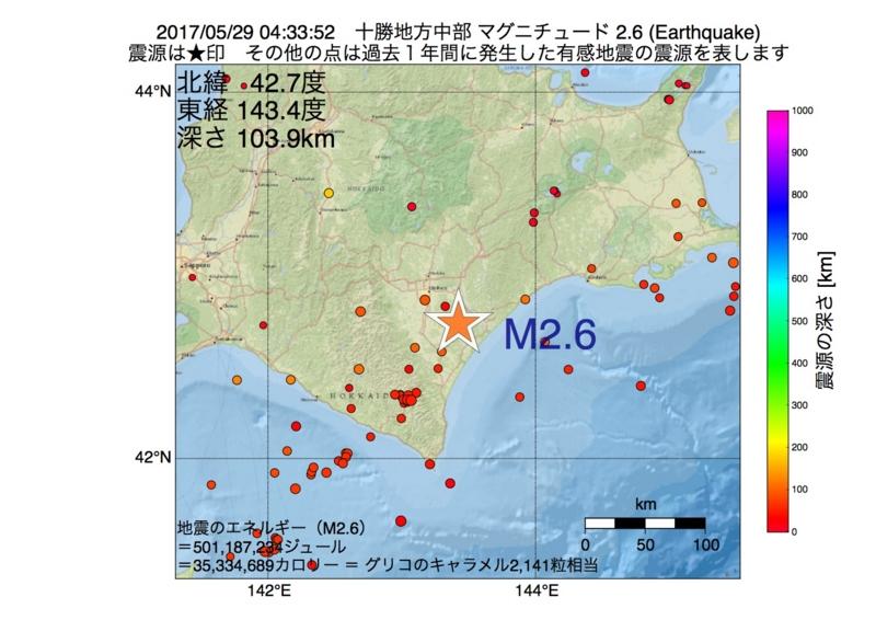 地震震源マップ:2017年05月29日 04時33分 十勝地方中部 M2.6