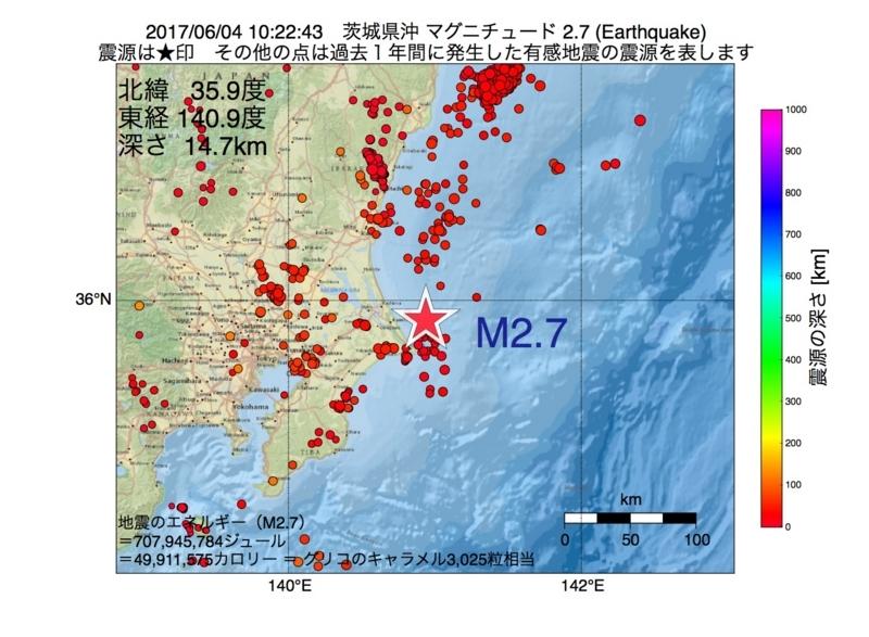 地震震源マップ:2017年06月04日 10時22分 茨城県沖 M2.7