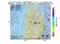 地震震源マップ:2017年06月12日 20時45分 秋田県内陸北部 M3.4