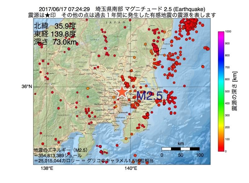 地震震源マップ:2017年06月17日 07時24分 埼玉県南部 M2.5