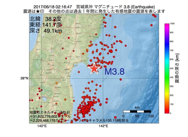 地震震源マップ:2017年06月18日 02時16分 宮城県沖 M3.8