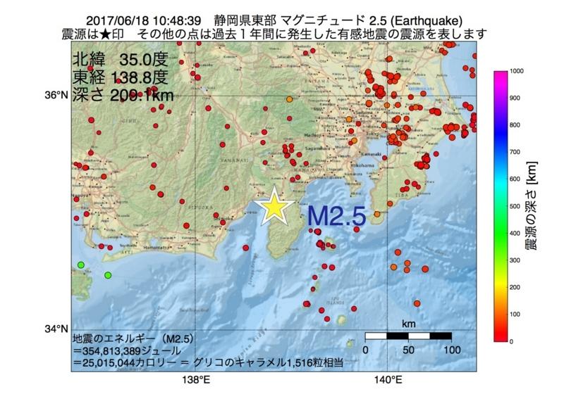 地震震源マップ:2017年06月18日 10時48分 静岡県東部 M2.5