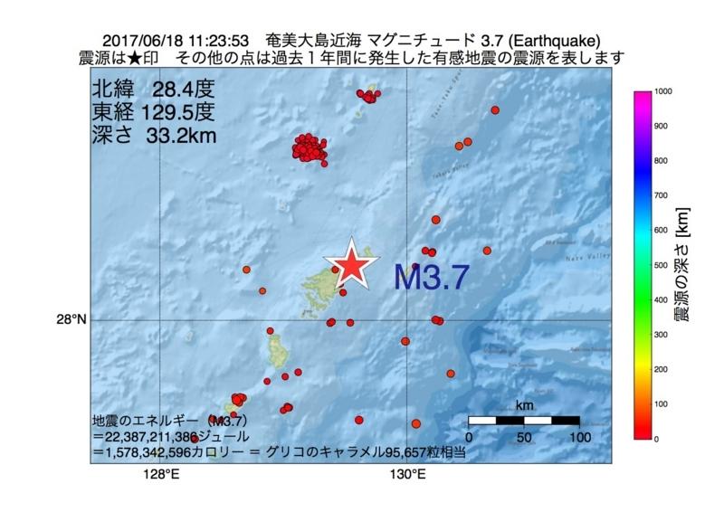 地震震源マップ:2017年06月18日 11時23分 奄美大島近海 M3.7