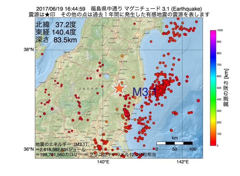 地震震源マップ:2017年06月19日 16時44分 福島県中通り M3.1