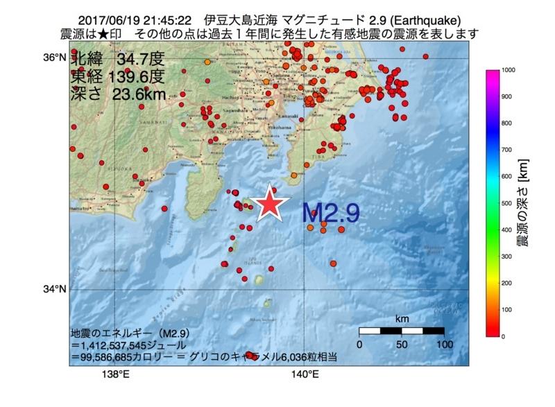 地震震源マップ:2017年06月19日 21時45分 伊豆大島近海 M2.9