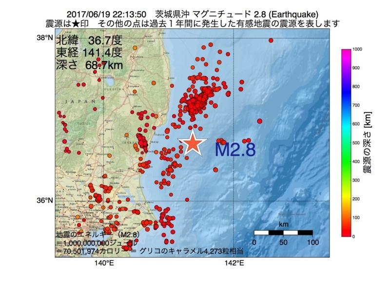 地震震源マップ:2017年06月19日 22時13分 茨城県沖 M2.8