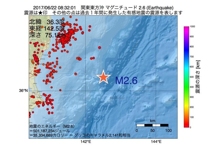 地震震源マップ:2017年06月22日 08時32分 関東東方沖 M2.6