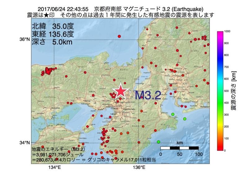 地震震源マップ:2017年06月24日 22時43分 京都府南部 M3.2