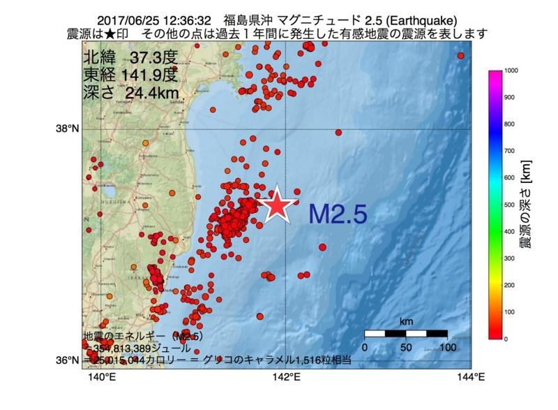 地震震源マップ:2017年06月25日 12時36分 福島県沖 M2.5