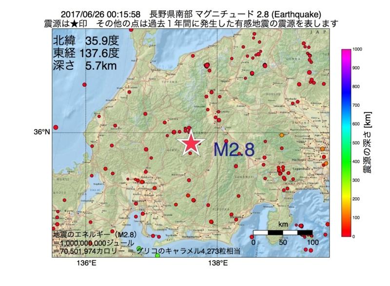 地震震源マップ:2017年06月26日 00時15分 長野県南部 M2.8