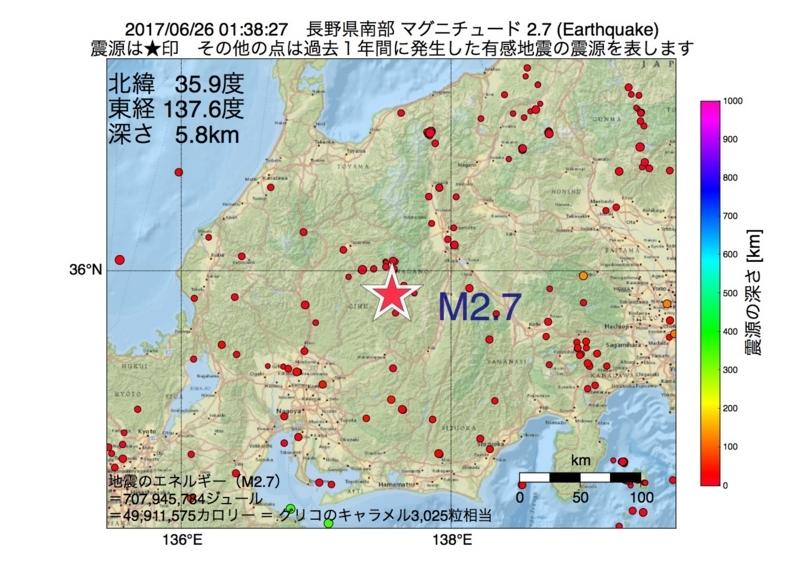 地震震源マップ:2017年06月26日 01時38分 長野県南部 M2.7