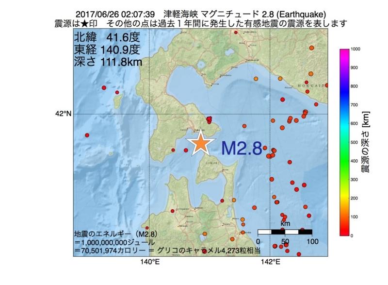 地震震源マップ:2017年06月26日 02時07分 津軽海峡 M2.8