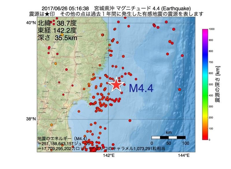 地震震源マップ:2017年06月26日 05時16分 宮城県沖 M4.4