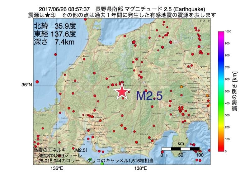 地震震源マップ:2017年06月26日 08時57分 長野県南部 M2.5