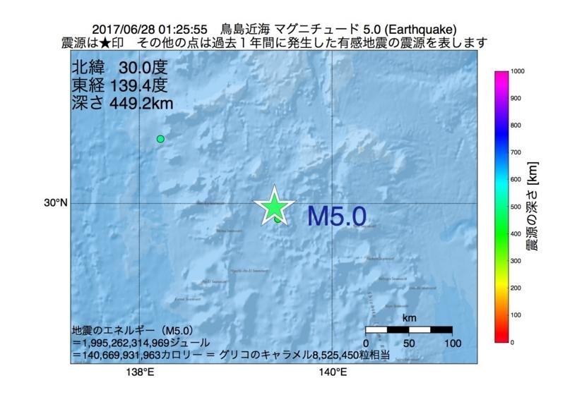 地震震源マップ:2017年06月28日 01時25分 鳥島近海 M5.0
