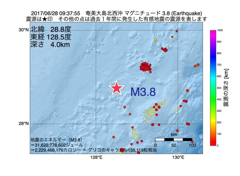 地震震源マップ:2017年06月28日 09時37分 奄美大島北西沖 M3.8