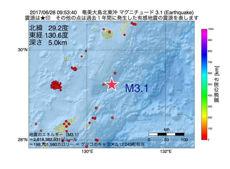 地震震源マップ:2017年06月28日 09時53分 奄美大島北東沖 M3.1