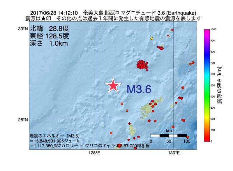 地震震源マップ:2017年06月28日 14時12分 奄美大島北西沖 M3.6