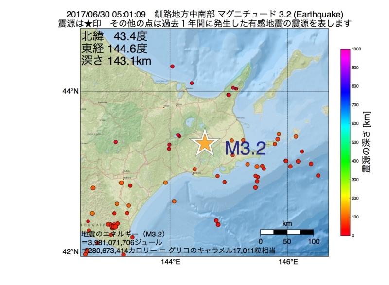 地震震源マップ:2017年06月30日 05時01分 釧路地方中南部 M3.2