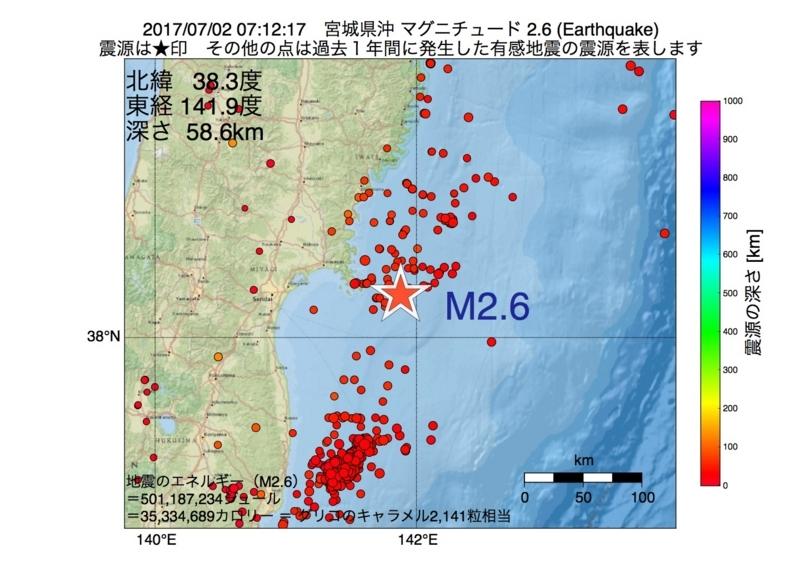 地震震源マップ:2017年07月02日 07時12分 宮城県沖 M2.6