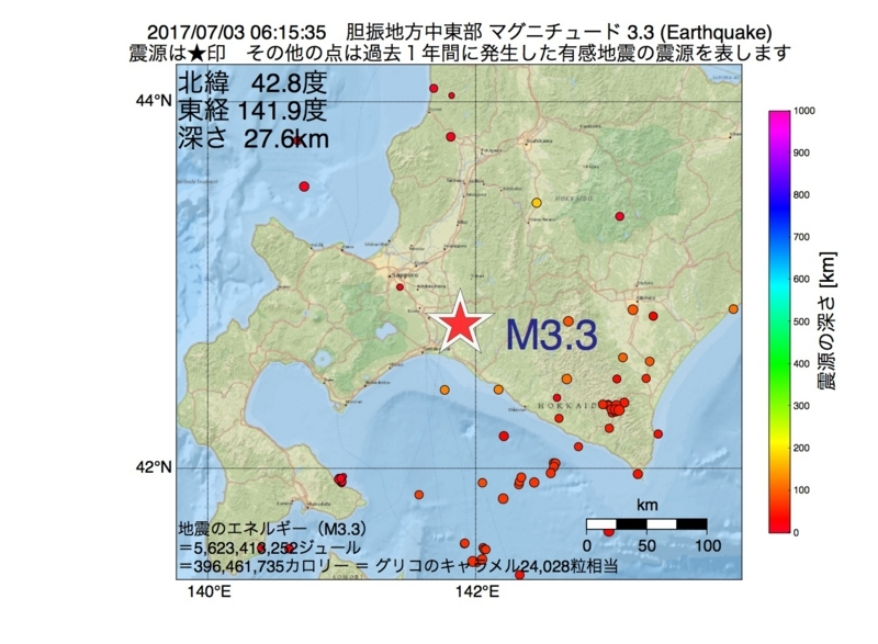 地震震源マップ:2017年07月03日 06時15分 胆振地方中東部 M3.3