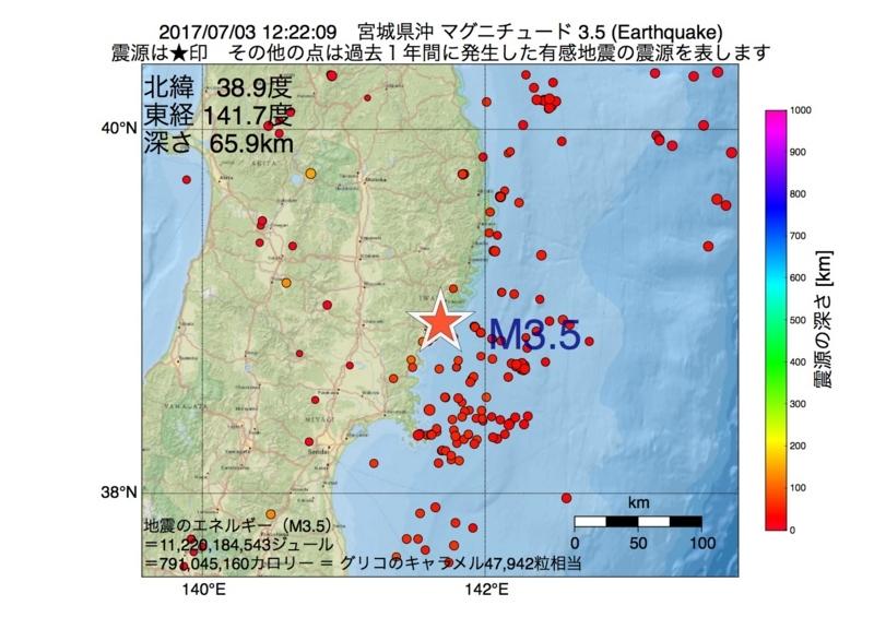 地震震源マップ:2017年07月03日 12時22分 宮城県沖 M3.5