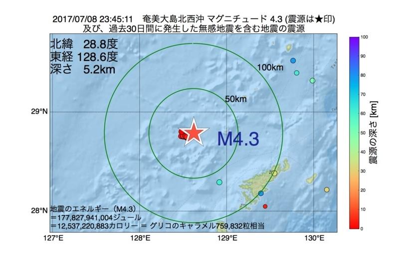 地震震源マップ:2017年07月08日 23時45分 奄美大島北西沖 M4.3