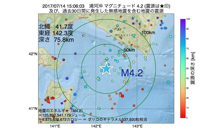 地震震源マップ:2017年07月14日 15時06分 浦河沖 M4.2
