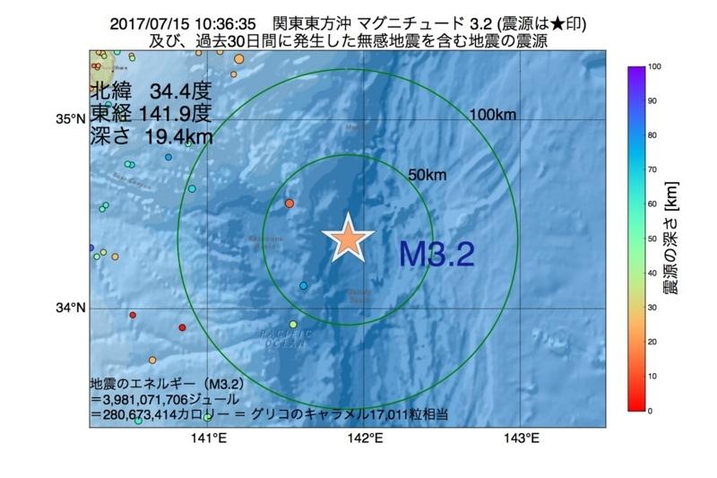地震震源マップ:2017年07月15日 10時36分 関東東方沖 M3.2