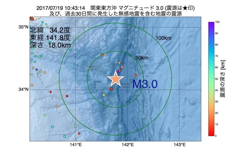地震震源マップ:2017年07月19日 10時43分 関東東方沖 M3.0