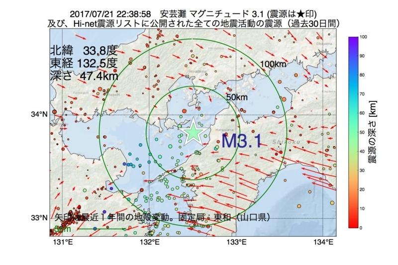 地震震源マップ:2017年07月21日 22時38分 安芸灘 M3.1