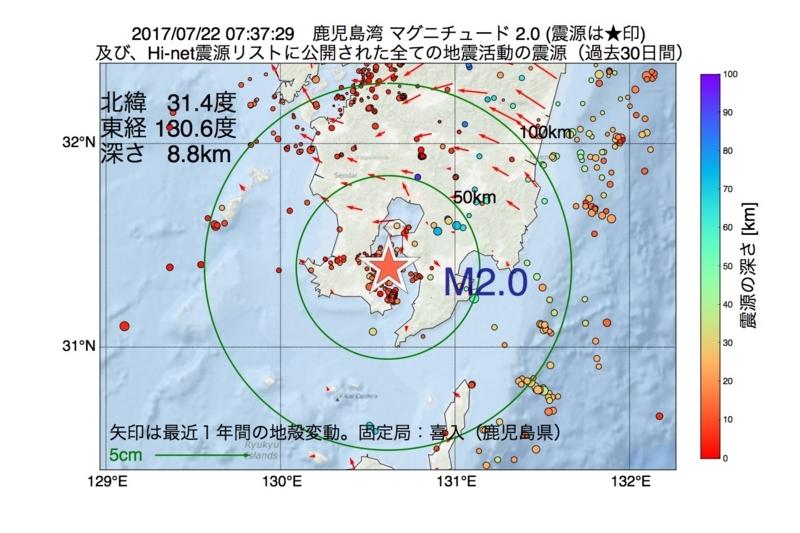 地震震源マップ:2017年07月22日 07時37分 鹿児島湾 M2.0