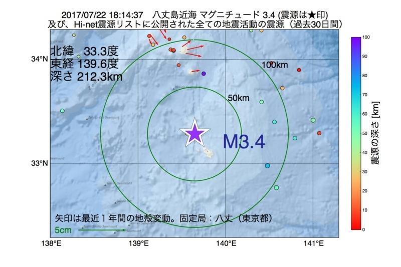 地震震源マップ:2017年07月22日 18時14分 八丈島近海 M3.4