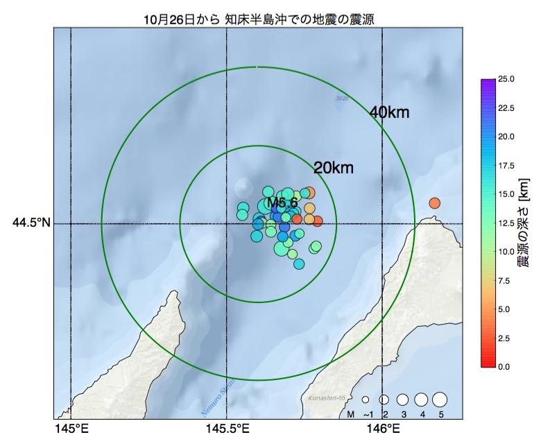 国後島付近、知床半島沖の地震活動