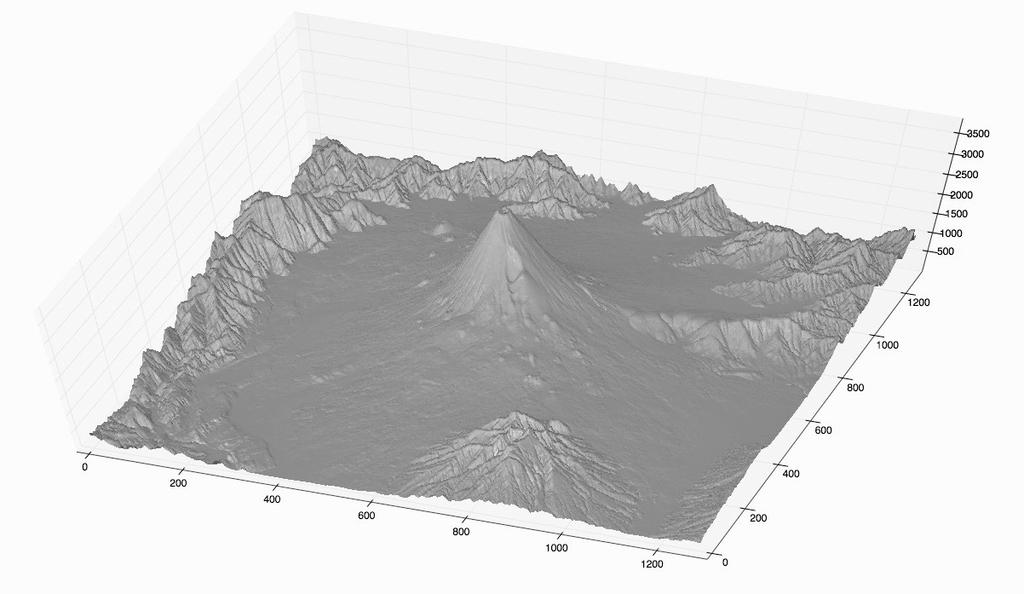 富士山の斜面勾配図の立体表示(2)