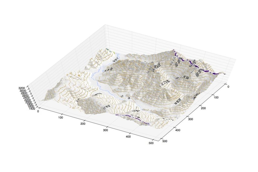 奥上高地から上高地方向への立体校区写真図(2)