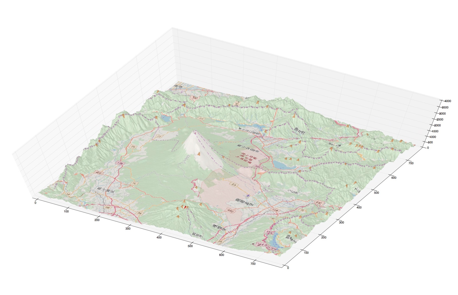 富士山近辺の立体地図