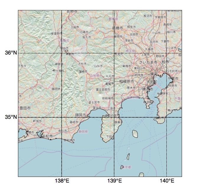 Basemapの背景地図をOpenStreetMapにして描いた富士山